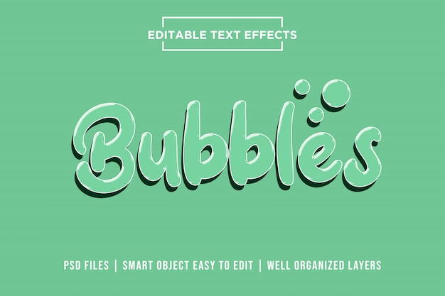 Bubbels, 3d teksteffecten premium psd Premium Psd