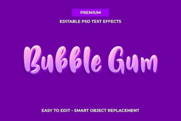 Bubble gum - plantilla de efectos de texto premium sweet color PSD Premium