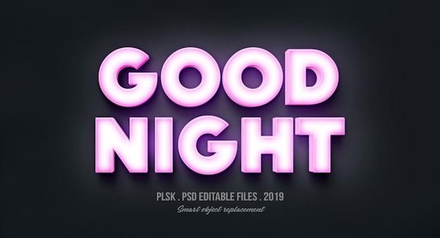 Buenas noches efecto de estilo de texto en 3d con luces PSD Premium