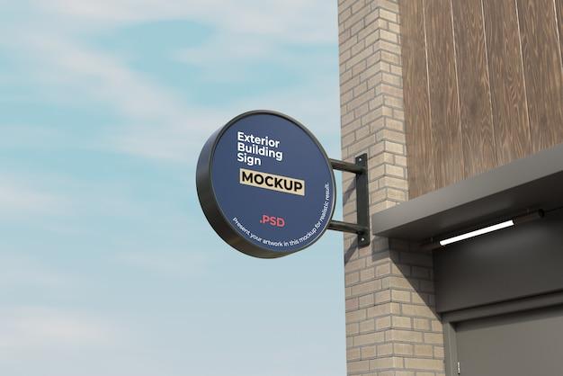 Buitenkant gebouw teken mockup cirkel stijl Premium Psd