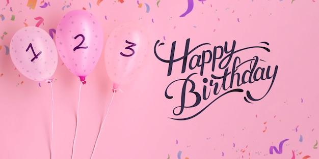 Buon compleanno conto alla rovescia palloncini e coriandoli Psd Gratuite