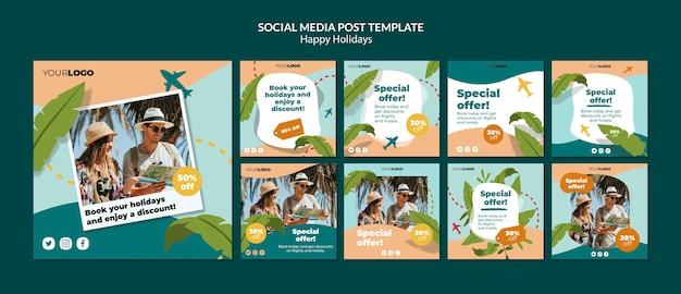 Buone vacanze post sui social media Psd Gratuite
