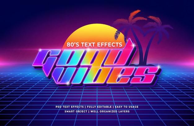Buone vibrazioni effetto testo retrò anni '80 Psd Premium