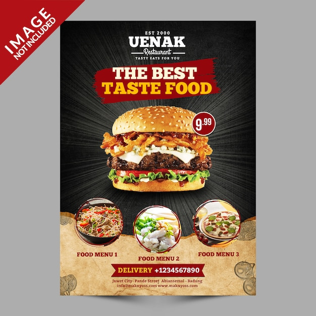 Burger flyer-sjabloon Premium Psd