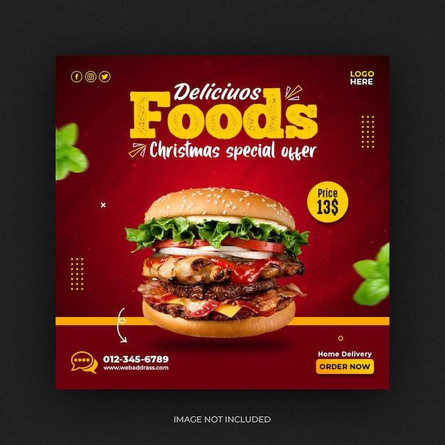 Burger food menu en restaurant social media post en instagram-bannermalplaatje Premium Psd