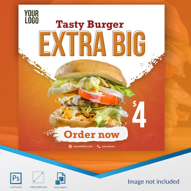 Burger food social media bericht sjabloon Premium Psd