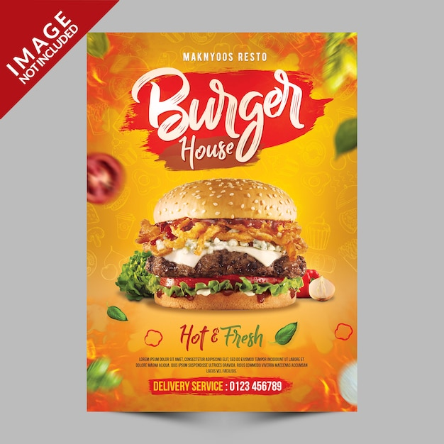 Burger house poster sjabloon Premium Psd
