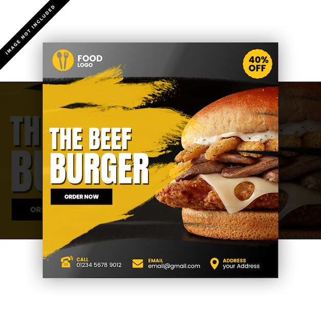 Burger instagram post of vierkante flyer Premium Psd