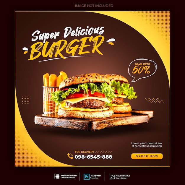 Burger menu promotie sociale media instagram-sjabloon voor spandoek Premium Psd