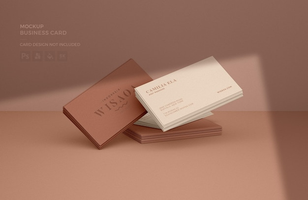 Business card stacks mockup met schaduw-overlay Premium Psd
