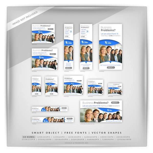 Business marketing google banner set PSD Premium