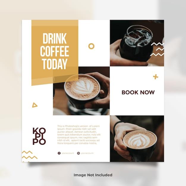 Cafetería collase photo publicación en redes sociales PSD Premium