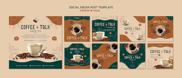 Caffè e parlare post sui social media Psd Gratuite