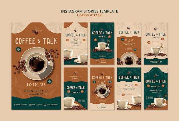 Caffè e storie su instagram Psd Gratuite