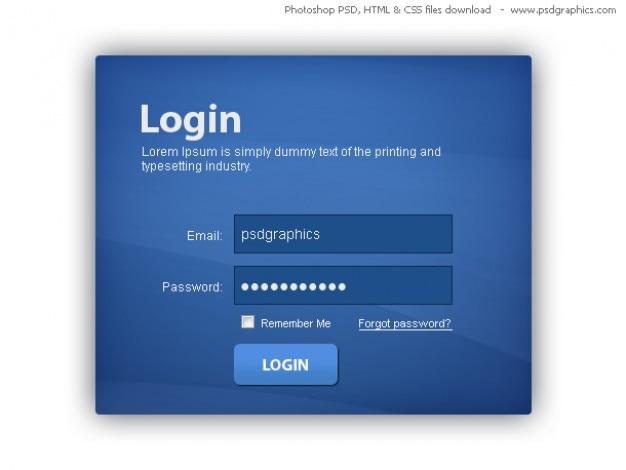 Caja azul de inicio de sesión, html y css con plantilla psd ...