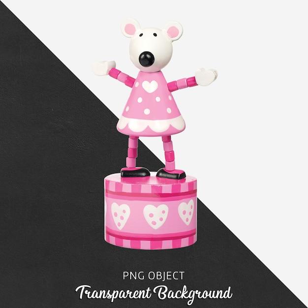 Caja de música rosa y blanca de madera sobre fondo transparente PSD Premium