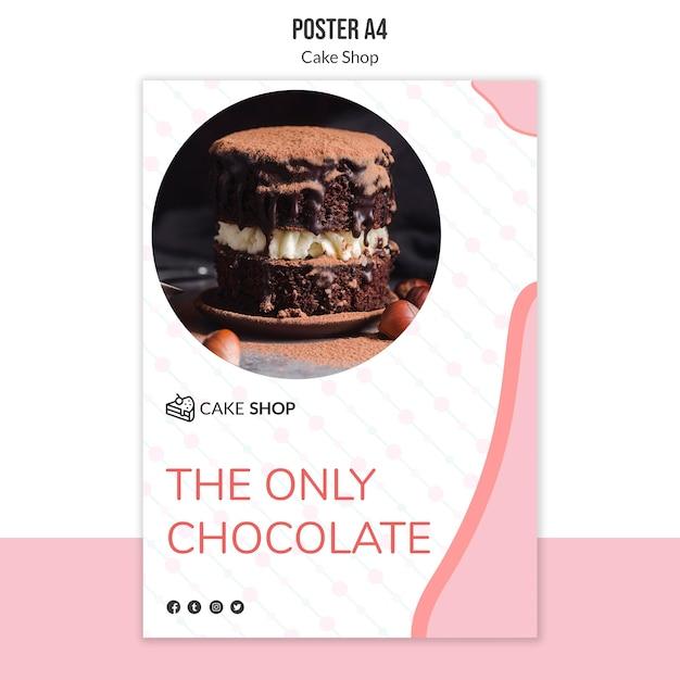 Cake shop concept poster sjabloon Gratis Psd