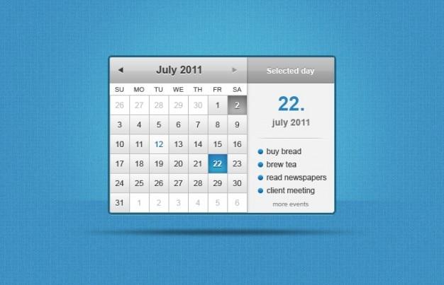 Calendar widget Gratis Psd