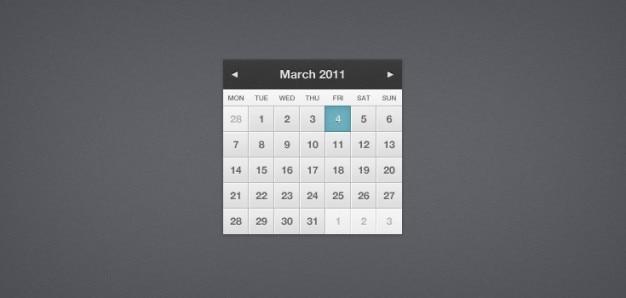 Calendario abbastanza piccolo (psd) Psd Gratuite