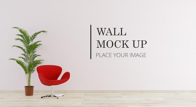 Camera con parete mock up con sedia e pianta Psd Premium