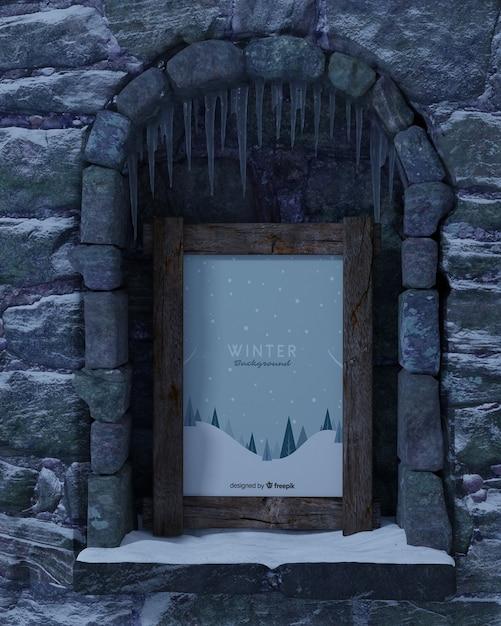 Camino con cornice invernale mock-up Psd Gratuite