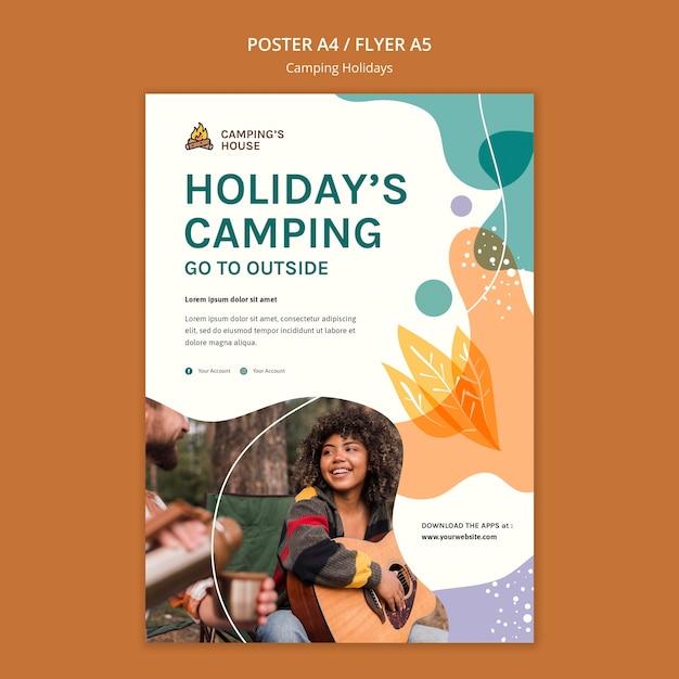 Camping vakantie folder sjabloon Gratis Psd