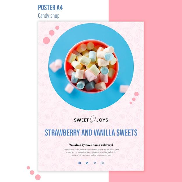 Candy shop poster sjabloon met foto Gratis Psd