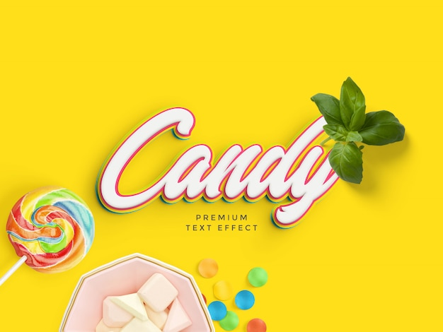 Candy text effect mockup Premium Psd