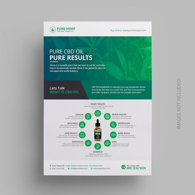 Cannabis hennepolie product flyer template design Premium Psd