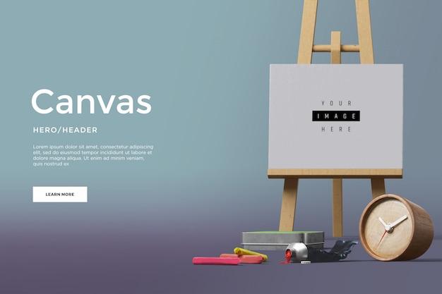 Canvas hero header aangepaste scène Premium Psd
