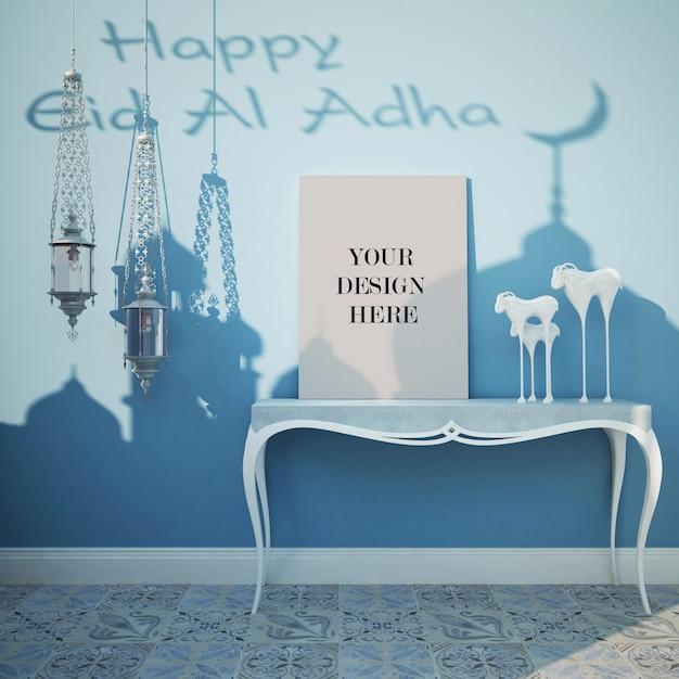 Canvasmodel voor eid-festival met decoratieve lampen in arabische stijl Premium Psd