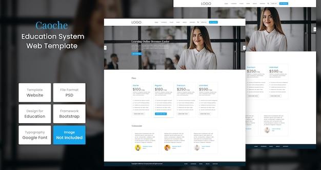 Caoche onderwijs website pagina ontwerpsjabloon Premium Psd