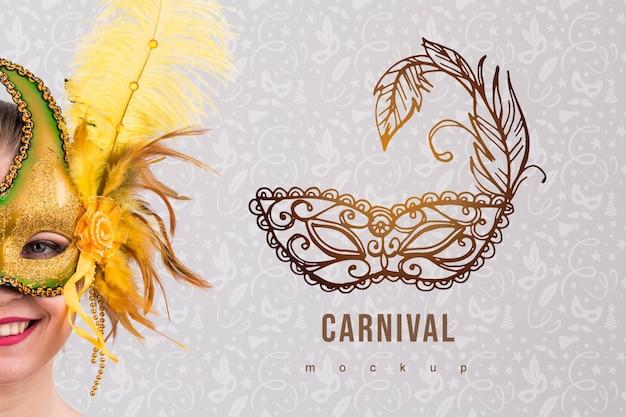 Carnaval-model met beeld van vrouw Gratis Psd