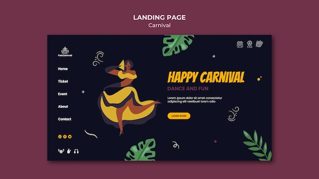Carnival-bestemmingspagina Gratis Psd