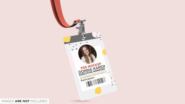 Carta d'identità aziendale con cordino vista prospettica psd mockup Psd Premium