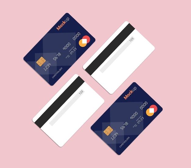 Carta di debito, carta di credito, mockup di smart card Psd Premium