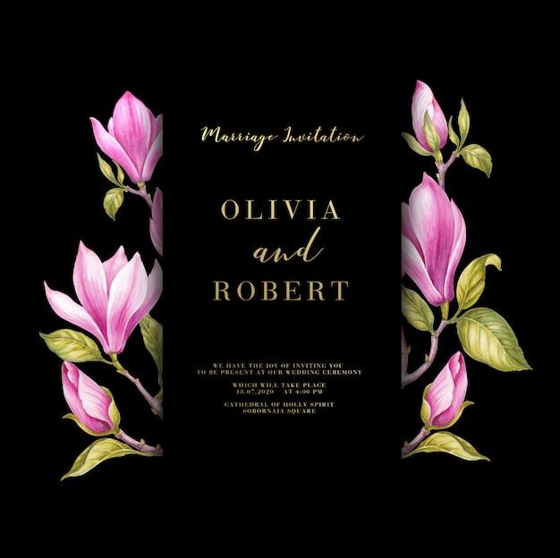 Carta di fiori di magnolia rosa Psd Premium