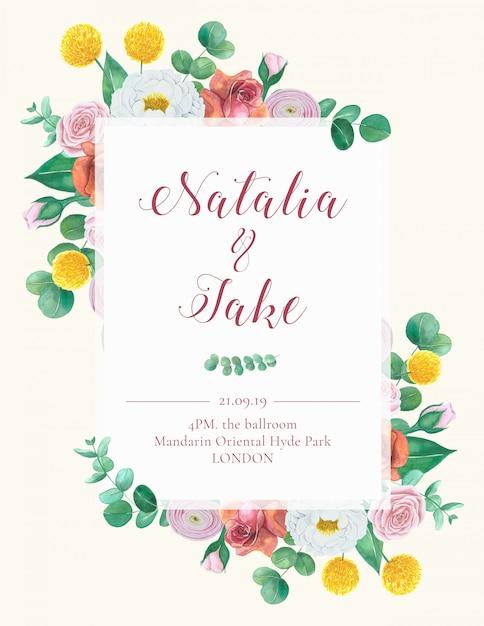 Carta di invito matrimonio floreale disegnata a mano Psd Premium