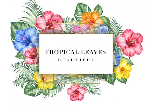 Carta di invito tropicale con fiori di ibisco Psd Premium