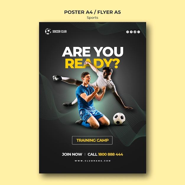 Cartel del campo de entrenamiento del club de fútbol PSD Premium