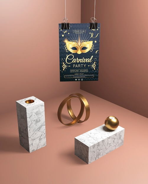 Cartel colgante de fiesta de carnaval y joyas de oro PSD gratuito