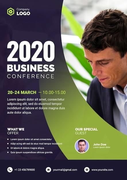 Cartel de conferencia de negocios con empresario PSD gratuito