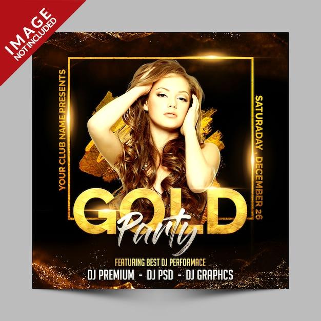 Cartel cuadrado o plantilla de volante de fiesta de oro, invitación de lujo para evento de club PSD Premium