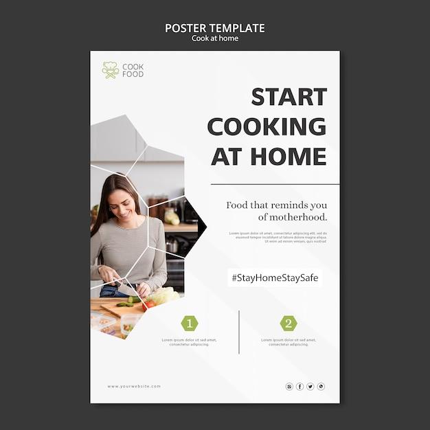 Cartel con diseño de cocina en casa PSD gratuito