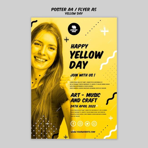 Cartel con estilo de día amarillo PSD gratuito