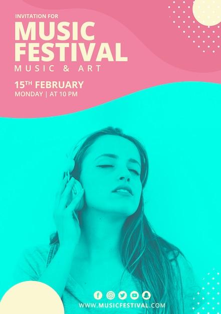 Cartel de festival de música con formas abstractas PSD gratuito