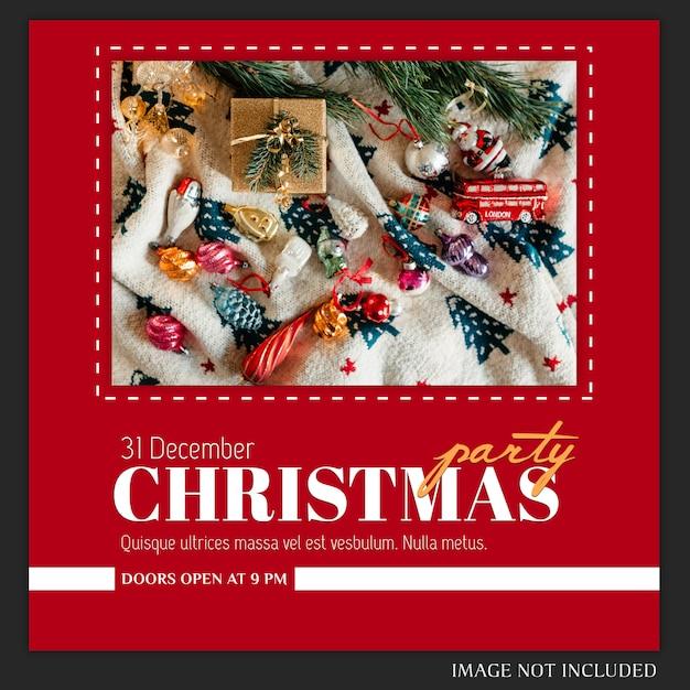 Cartel de fiesta de año nuevo o navidad o plantilla de invitación PSD Premium