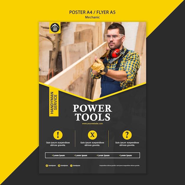 Cartel de herramientas eléctricas de trabajador manual de carpintero PSD gratuito