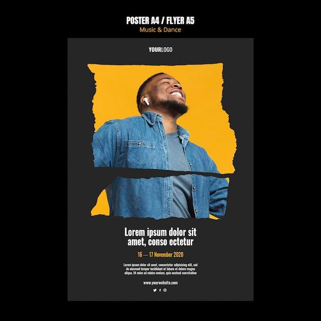 Cartel de plantilla de anuncio de evento de música y danza PSD gratuito