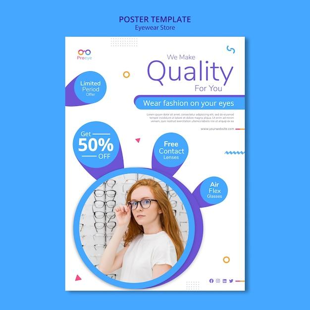 Cartel de plantilla de anuncio de tienda de gafas PSD gratuito